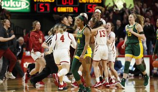 Baylor guard Te'a Cooper (4) walks off the court at the end of an NCAA college basketball game against Iowa State, Sunday, March 8, 2020, in Ames, Iowa. (AP Photo/Charlie Neibergall)