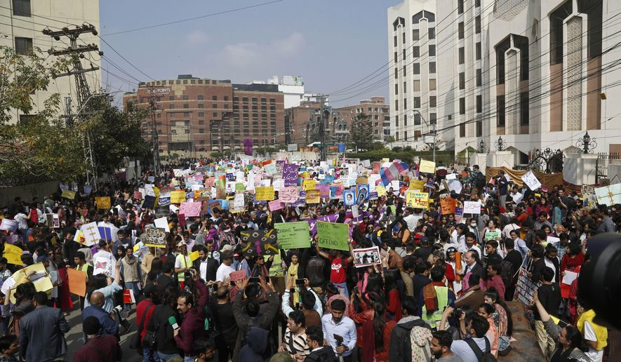 Pakistani activists take part in an International Women's Day rally in Lahore, Pakistan, Sunday, March 8, 2020. Pakistanis held rallies across the country. Officially recognized by the United Nations in 1977, it is celebrated around the world on March 8. (AP Photo/K.M. Chaudhry)