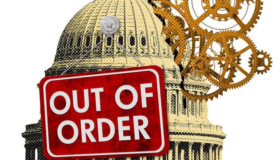 Broken Congress Illustration by Greg Groesch/The Washington Times