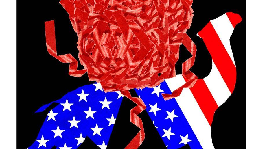 Illustration on government over-regulation by Alexander Hunter/The Washington Times