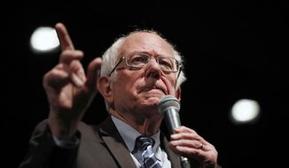 Democratic presidential candidate Sen. Bernie Sanders, I-Vt., speaks during a campaign rally Monday, March 9, 2020, in St. Louis. (AP Photo/Jeff Roberson)
