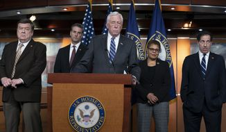 House Majority Leader Steny Hoyer, D-Md., center, is joined by, from left, Rep. C.A. Dutch Ruppersberger, D-Md., Rep. John Sarbanes, D-Md., Rep. Karen Bass, D-Calif., chair of the Congressional Black Caucus, and Rep. Jamie Raskin, D-Md., hold a news conference to call for removal of a bust from the Capitol of Chief Justice Roger Taney on Capitol Hill in Washington, Monday, March 9, 2020. Their legislation would replace Taney's bust with one of Associate Justice Thurgood Marshall. (AP Photo/J. Scott Applewhite)