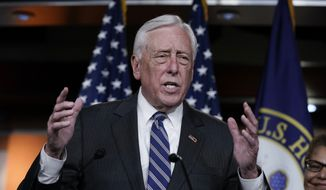 House Majority Leader Steny Hoyer, D-Md., and other Maryland Democrats hold a news conference to call for removal of a bust from the Capitol of Chief Justice Roger Taney who led the Supreme Court in the 1857 ruling against Dred Scott, an enslaved African-American man, who had sued for his freedom, on Capitol Hill in Washington, Monday, March 9, 2020. Their legislation would replace Taney's bust with one of Associate Justice Thurgood Marshall. (AP Photo/J. Scott Applewhite) **FILE**