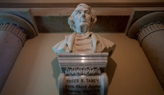 A bust of Chief Justice Roger Taney, who came from a slave-owning family in Maryland, will be replaced with a memorial to Justice Thurgood Marshall, the first black man to serve on the Supreme Court, if Democrats have their way. (Associated Press)