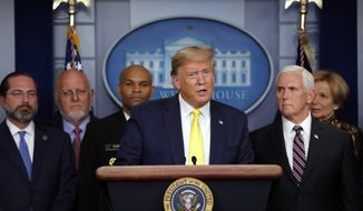 President Donald Trump speaks in the Brady press briefing room of the White House in Washington, Monday, March, 9, 2020, about the coronavirus outbreak. (AP Photo/Carolyn Kaster)
