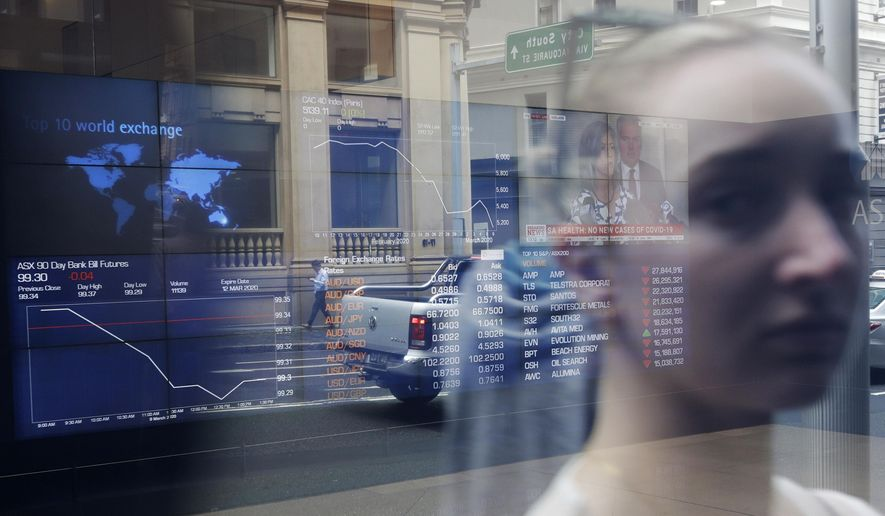 A woman's image is reflected in the window at the Australian Stock Exchange in Sydney, Monday, March 9, 2020. Asian stock markets plunged Monday after oil prices nosedived on worries a global economy weakened by a virus outbreak might be awash in too much crude. (AP Photo/Rick Rycroft)
