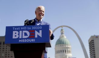 Democratic presidential candidate former Vice President Joe Biden speaks during a campaign rally Saturday, March 7, 2020, in St. Louis. (AP Photo/Jeff Roberson)