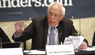 Democratic presidential candidate Sen. Bernie Sanders speaks to health officials about the coronavirus outbreak, at the Westin Hotel at the Delta airlines terminal in Romulus, Mich., Monday, March 9, 2020. (Max Ortiz/Detroit News via AP)