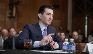 In this April 5, 2017, file photo, Dr. Scott Gottlieb, President Donald Trump's then-nominee to head the powerful Food and Drug Administration (FDA), speaks during his confirmation hearing before the Senate Committee on Health, Education, Labor, and Pensions, on Capitol Hill in Washington. (AP Photo/J. Scott Applewhite, File)