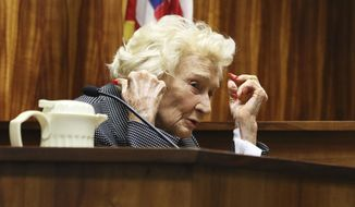 Abigail Kawananakoa testifies in court in Honolulu on Monday, March 9, 2020. The 93-year-old Native Hawaiian heiress doesn't need anyone to handle her estate because she isn't dead yet, she testified Monday during a hearing to determine whether she needs a conservator to oversee her $215 million trust. (AP Photo/Jennifer Sinco Kelleher)