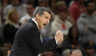 Maryland head coach Mark Turgeon reacts during the second half of an NCAA college basketball game against Michigan, Sunday, March 8, 2020, in College Park, Md. (AP Photo/Nick Wass)  **FILE**