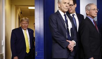 President Donald Trump arrives to speak in the briefing room of the White House in Washington, Monday, March 9, 2020, about the coronavirus outbreak. Standing are White House trade adviser Peter Navarro, third from left, Treasury Secretary Steve Mnuchin and National Institute of Allergy and Infectious Diseases Director Dr. Anthony Fauci. (AP Photo/Patrick Semansky)