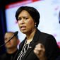 D.C. Mayor Muriel Bowser is shown in this March 7, 2020 news conference.  (Associated Press)  **FILE**