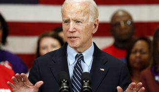 Democratic presidential candidate former Vice President Joe Biden speaks at a campaign event in Columbus, Ohio, Tuesday, March 10, 2020. (AP Photo/Paul Vernon)