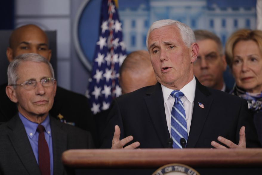 Vice President Mike Pence speaks in the briefing room of the White House in Washington, Tuesday, March, 10, 2020, about the coronavirus outbreak. Also on stage from left are Dr. Anthony Fauci, director of the National Institute of Allergy and Infectious Diseases, U.S. Surgeon General Jerome Adams, White House chief economic adviser Larry Kudlow, Pence, Coast Guard Vice Adm. Daniel Abel, and Dr. Deborah Birx. (AP Photo/Carolyn Kaster)