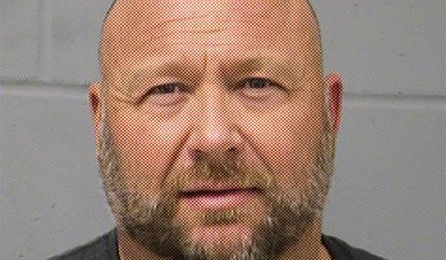 In this Tuesday, March 10, 2020, booking photo provided by the Travis County (Texas) Sheriff's Office is Alex Jones. Jones was arrested in Texas on a misdemeanor charge of driving while intoxicated, authorities said Tuesday, March 10, 2020. Jones was booked into an Austin jail shortly after midnight and released on bond a few hours later, sheriff's office spokeswoman Kristen Dark said. (Travis County Sheriff's Office via AP)