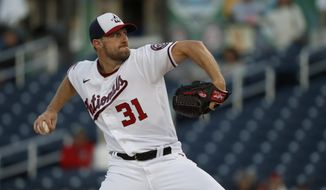 Washington Nationals pitcher Max Scherzer throws during the first inning of a spring training baseball game against the Houston Astros Thursday, Feb. 27, 2020, in West Palm Beach, Fla. (AP Photo/Jeff Roberson) ** FILE **