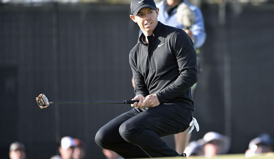 Rory McIlroy, of Northern Ireland, reacts after missing a putt on the 15th green during the third round of the Arnold Palmer Invitational golf tournament, Saturday, March 7, 2020, in Orlando, Fla. (AP Photo/Phelan M. Ebenhack)