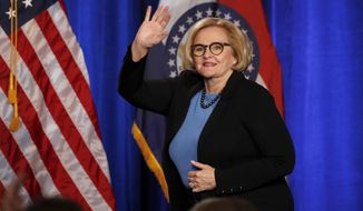 FILE - In this Nov. 6, 2018 file photo, Sen. Claire McCaskill, D-Mo., steps on stage to deliver a concession speech in St. Louis.  The two-term senator from Missouri lost her seat in the 2018 midterm election but is now making waves as a plainspoken analyst for NBC News. (AP Photo/Jeff Roberson, File)