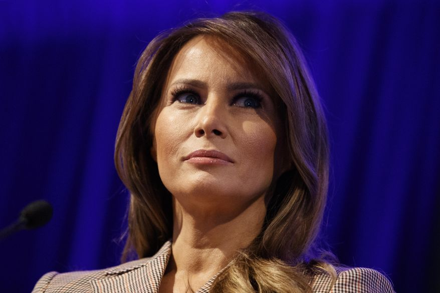 First lady Melania Trump pauses as she speaks at the at the National PTA Legislative Conference in Alexandria, Va., Tuesday, March, 10, 2020. (AP Photo/Carolyn Kaster)