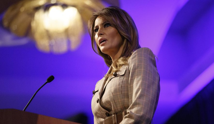 First lady Melania Trump speaks at the at the National PTA Legislative Conference in Alexandria, Va., Tuesday, March, 10, 2020. (AP Photo/Carolyn Kaster)