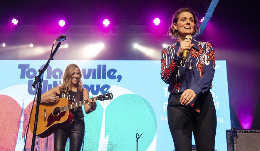 Sheryl Crow, left, and Brandi Carlile perform at the To Nashville, With Love Benefit Concert at Marathon Music Works on Monday, March 9, 2020, in Nashville, TN. (Photo by Amy Harris/Invision/AP)