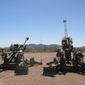 The U.S. Army's M777A2 and M777ER Howitzers are ready to fire on a range in September 2018. (Image: U.S. Army)  ** FILE **