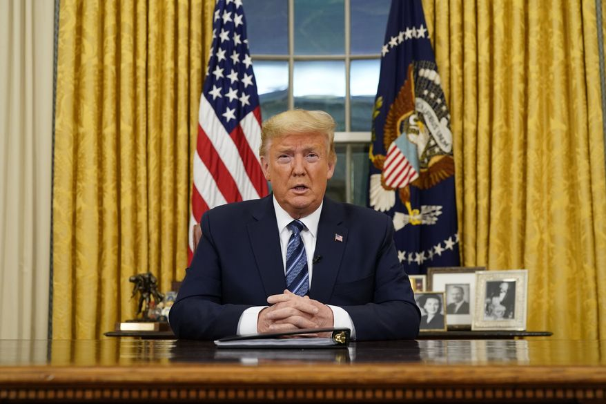 President Donald Trump speaks in an addresses to the nation from the Oval Office at the White House about the coronavirus Wednesday, March, 11, 2020, in Washington. (Doug Mills/The New York Times via AP, Pool)