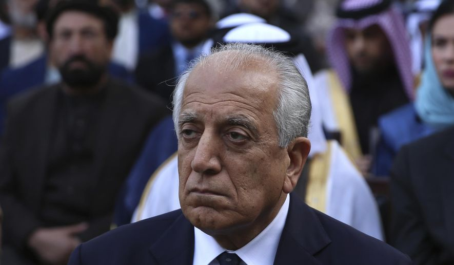 Washington's peace envoy Zalmay Khalilzad attends the inauguration ceremony for Afghan President Ashraf Ghani at the presidential palace in Kabul, Afghanistan, Monday, March 9, 2020. (AP Photo/Rahmat Gul)