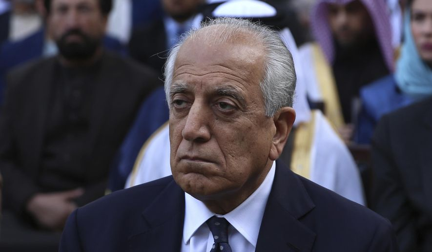 Washington's peace envoy Zalmay Khalilzad attends the inauguration ceremony for Afghan President Ashraf Ghani at the presidential palace in Kabul, Afghanistan, Monday, March 9, 2020. (AP Photo/Rahmat Gul) ** FILE **