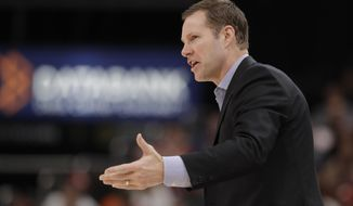 Nebraska head coach Fred Hoiberg calls a play during the first half of an NCAA college basketball game against Indiana at the Big Ten Conference tournament, Wednesday, March 11, 2020, in Indianapolis. (AP Photo/Darron Cummings)