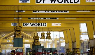 FILE - In this Feb. 8, 2009, file photo, cranes off load containers at the Jebel Ali port terminal 2 in Dubai, United Arab Emirates. Dubai-based port operator DP World said Wednesday, March 11, 2020 its profits fell 8.3% to $1.18 billion in 2019, warning that global trade remains threatened by trade wars and the spread of the new coronavirus. (AP Photo/Kamran Jebreili, File)