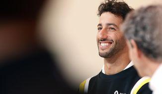 Renault drivers Daniel Ricciardo of Australia attends a press conference, in Paris, Wednesday, Feb. 12, 2020. (AP Photo/Thibault Camus)
