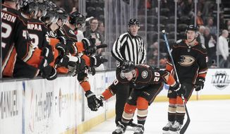 Anaheim Ducks left wing Nicolas Deslauriers celebrates after scoring his first goal of the first period during an NHL hockey game against the Ottawa Senators in Anaheim, Calif., Tuesday, March 10, 2020. (AP Photo/Chris Carlson)
