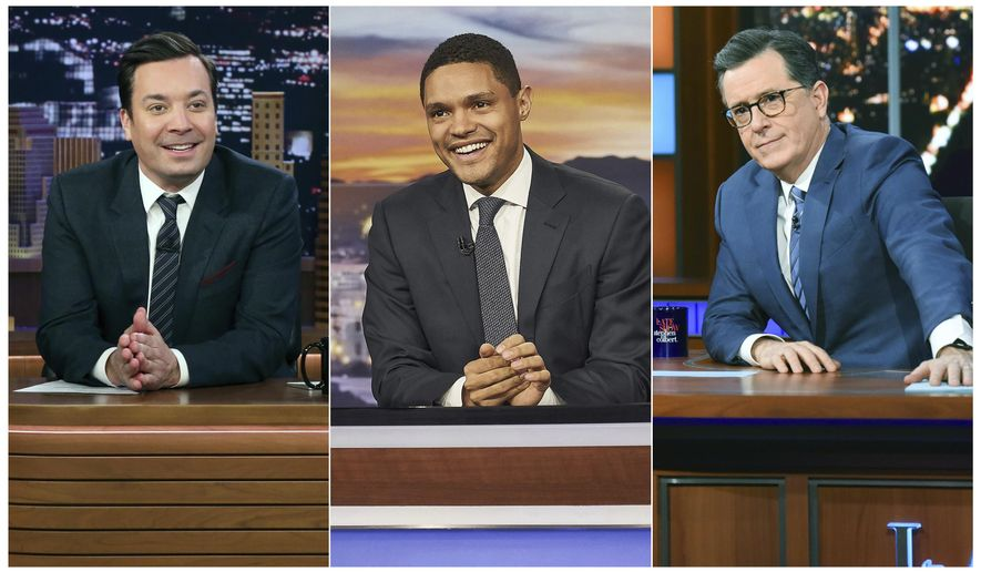 """This combination of photos show, from left, host Jimmy Fallon on the set of """"The Tonight Show with Jimmy Fallon,"""" on Feb. 3, 2020, from left, host Trevor Noah on the set of """"The Daily Show with Trevor Noah and host Stephen Colbert on the set of """"The Late Show with Stephen Colbert on Jan. 30, 2020. The late night talk shows announced that they will tape their shows without studio audiences due to the new coronavirus. For most people, the new coronavirus causes only mild or moderate symptoms. For some it can cause more severe illness. (Andrew Lipovsky/NBC, from left, Sean Gallagher/Comedy Central, Scott Kowalchyk/CBS via AP)"""
