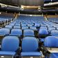 "The seats are empty at the Amway Center in Orlando, home of the NBA's Orlando Magic, on Thursday, March 12, 2020. The NBA has suspended its season until further notice"" after a Utah Jazz player tested positive Wednesday for the coronavirus, a move that came only hours after the majority of the league's owners were leaning toward playing games without fans in arenas.  (Stephen M. Dowell /Orlando Sentinel via AP)"