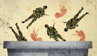 Throwing Away Soldiers and Babies Illustration by Greg Groesch/The Washington Times