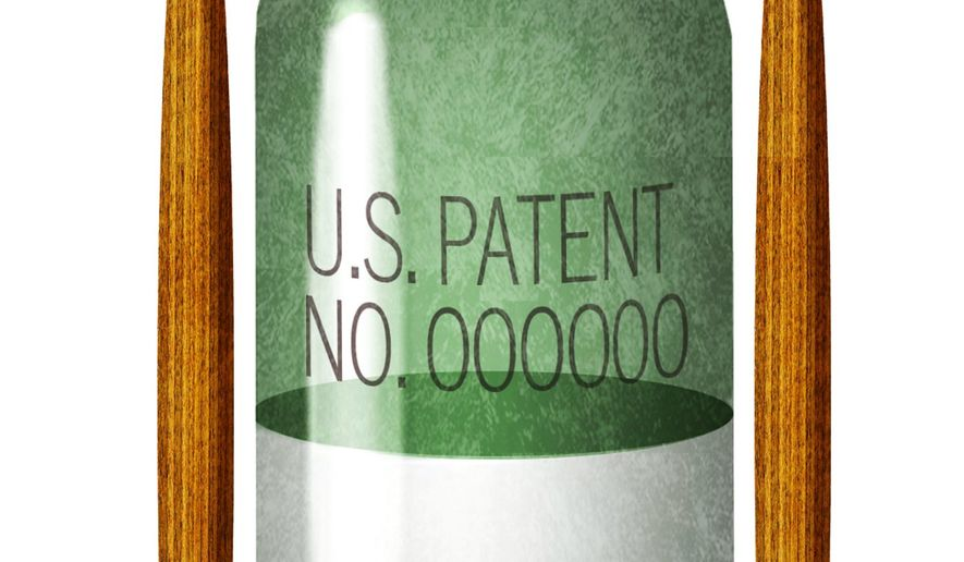 Illustration on patenting medicines by Alexander Hunter/The Washington Times