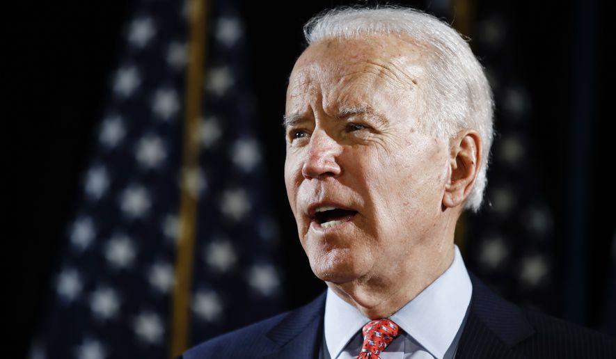 Democratic presidential candidate former Vice President Joe Biden speaks about the coronavirus Thursday, March 12, 2020, in Wilmington, Del. (AP Photo/Matt Rourke) **FILE**
