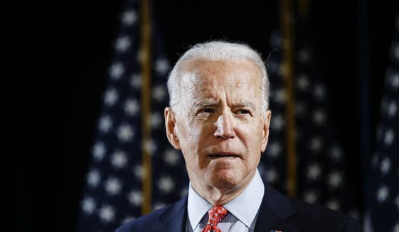Democratic presidential candidate and former Vice President Joe Biden speaks about the coronavirus Thursday, March 12, 2020, in Wilmington, Del. (AP Photo/Matt Rourke) **FILE**