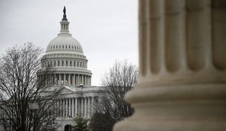 The U.S. Capitol is seen from the Russell Senate Office Building on Capitol Hill in Washington, Thursday, March 12, 2020. Congress is shutting the Capitol and all House and Senate office buildings to the public until April in reaction to the spread of the coronavirus outbreak. (AP Photo/Patrick Semansky)