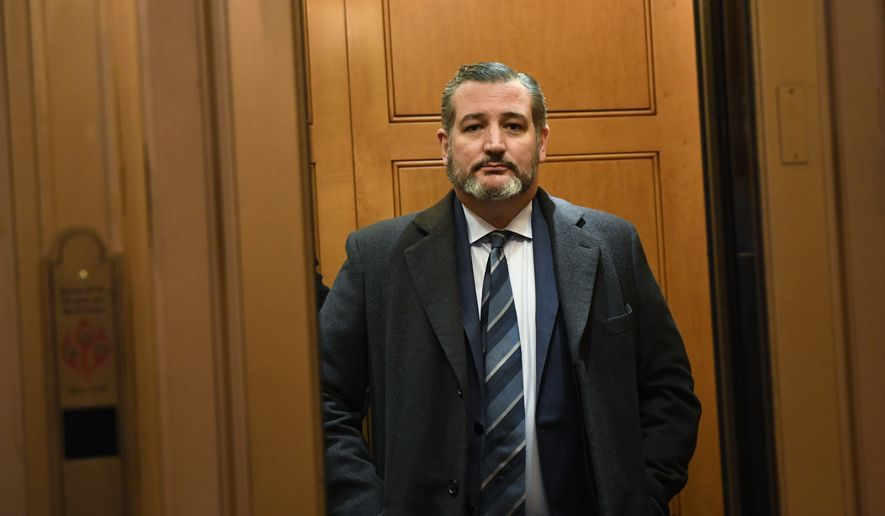 FILE - In this Feb. 5, 2020, file photo Sen. Ted Cruz, R-Texas, stands in an elevator on Capitol Hill in Washington. (AP Photo/Susan Walsh, File)