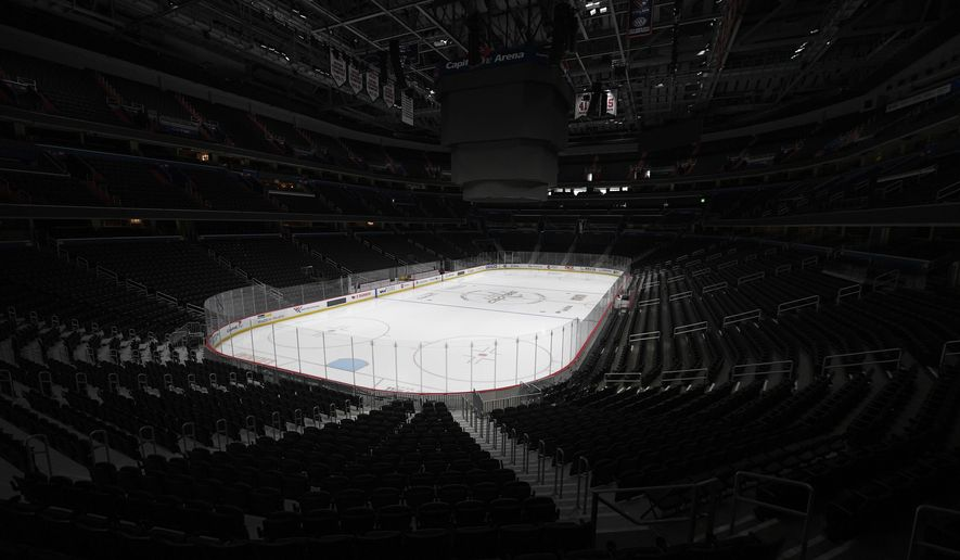 Capital One Arena, home of the Washington Capitals NHL hockey club, sits empty Thursday, March 12, 2020, in Washington. The NHL is following the NBA's lead and suspending its season amid the coronavirus outbreak, the league announced Thursday. (AP Photo/Nick Wass)