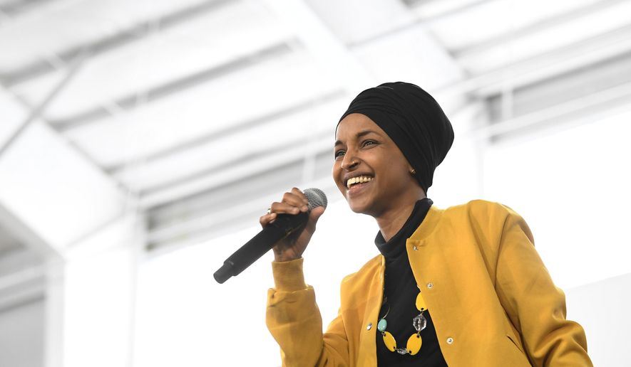 In this Feb. 29, 2020 file photo, Rep. Ilhan Omar, D-Minn., speaks at a rally in Springfield, Mass.  (AP Photo/Susan Walsh File) **FILE**