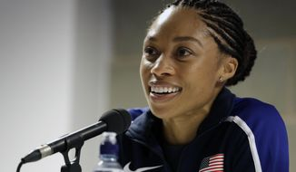 """FILE - In this Aug. 3, 2017, file photo, United States' Allyson Felix speaks during a press conference of the U.S. team prior to the World Athletics Championships in London. Early in her career, Allyson Felix would shy away from speaking on controversial subjects. The nine-time Olympic medalist stayed in her lane. Not anymore. Not since the birth of her daughter, Camryn. Felix wants her legacy to be improving maternity rights for athletes over her times and gold medals. """"I feel like I'm right where I'm supposed to be,"""" Felix said. """"I feel stronger than ever, just with everything I've been through.""""(AP Photo/Matthias Schrader, File)"""