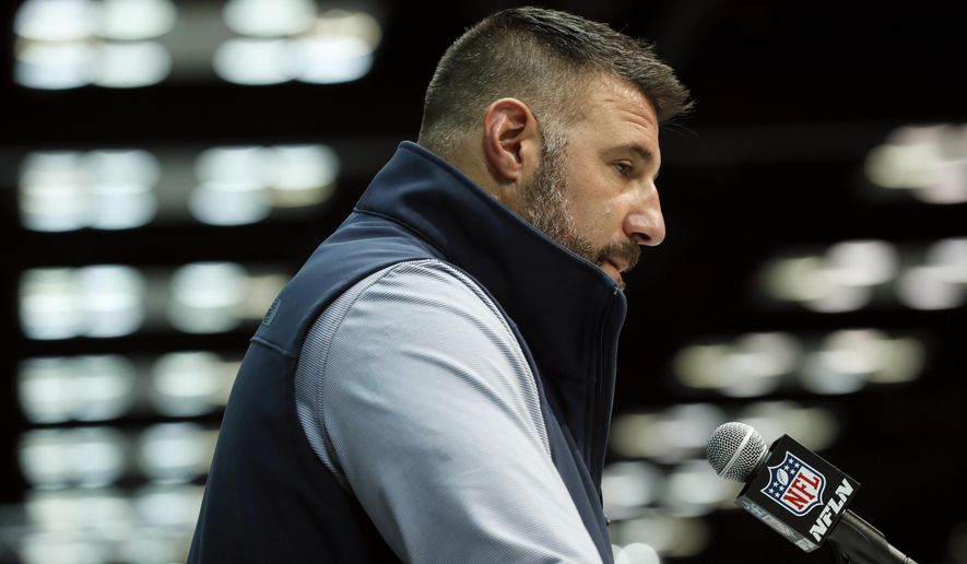Tennessee Titans head coach Mike Vrabel speaks during a press conference at the NFL football scouting combine in Indianapolis, Tuesday, Feb. 25, 2020. (AP Photo/Charlie Neibergall)