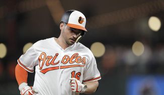 In this Aug. 1, 2019, file photo, Baltimore Orioles' Trey Mancini runs the bases after hitting a solo home run off Toronto Blue Jays relief pitcher Jason Adam during the eighth inning of a baseball game in Baltimore. Mancini has undergone surgery for colon cancer, Thursday, March 12, 2020, to remove the tumor from his colon. The team said a malignant tumor was discovered last week. (AP Photo/Julio Cortez) ** FILE **