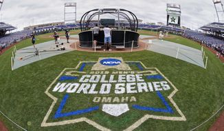 FILE - In this June 14, 2019, file photo, the College World Series logo is partially painted at TD Ameritrade Park in Omaha, Neb., as Vanderbilt players practice ahead of their College World Series game against Louisville. The NCAA's decision to canceled winter and spring sports championships means the College World Series will not be held for the first time in its 73-year history. (AP Photo/Nati Harnik, File)