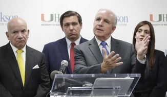 Miami-Dade County Mayor Carlos Gimenez, gestures as he speaks during a news conference alongside Jackson Health System President and CEO Carlos Migoya, left, Florida Gov. Ron DeSantis, second from left, and Lt. Gov. Jeanette Nunez, right, at Jackson Memorial Hospital, Thursday, March 12, 2020, in Miami. Gimenez announced Thursday he was canceling several events, such as a county fair, the Miami Open tennis tournament. For most people, the new coronavirus causes only mild or moderate symptoms. For some it can cause more severe illness (AP Photo/Wilfredo Lee)