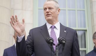 In this file photo, Massachusetts Governor Charlie Baker addresses the press regarding the state response to the coronavirus pandemic outside of City Hall in Pittsfield, Mass., Thursday, March 12, 2020. (Ben Garver/The Berkshire Eagle via AP)  **FILE**